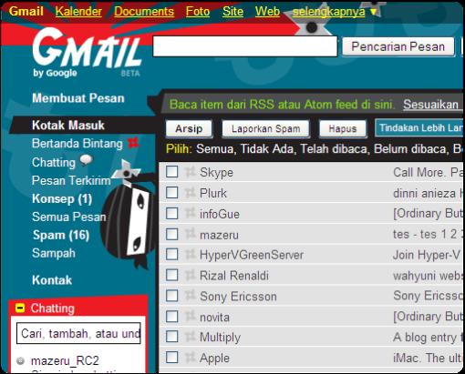 Tampilan konten Gmail