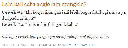 Salah satu postingan di blog Nguping Jakarta